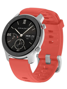 Умные часы Amazfit GTR 42 mm aluminium case, silicone strap Coral Red