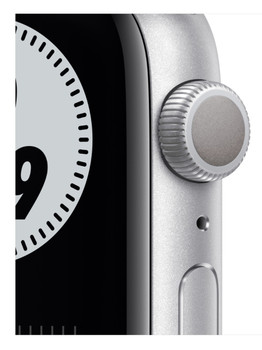 Apple Watch Series 6 GPS 44mm Aluminum Case with Nike Sport Band Space (серебристый/чистая платина/черный) MG293
